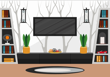 Living room in minimalist style. Modern interior design in white and black colors with fantasy wallpapers with tree pattern Иллюстрация