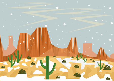 Snow in desert. Illustration of unusual and rare whether event