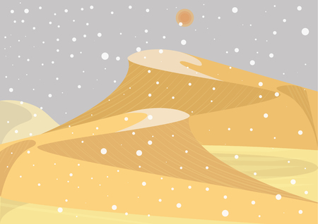 Snowfall in desert. Unusual. Sand-dune covered by snow