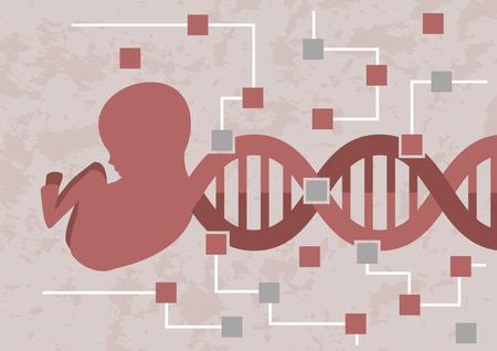 Hackear embriones de bebés. Decodificando la mutación o los genes malos. El ADN del embrión del bebé se está transformando en el circuito de los microchips Ilustración de vector