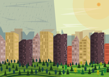 Example of microclimate. A very big city (metropolis or agglomeration), there are different weather conditions