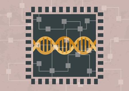 Hackear y decodificar el ADN. El ADN está dentro del microchip Ilustración de vector