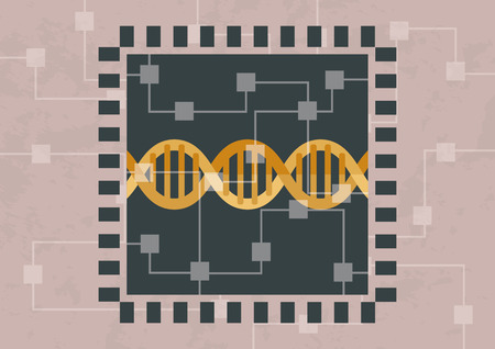 Hacking and decoding DNA. DNA is inside of microchip
