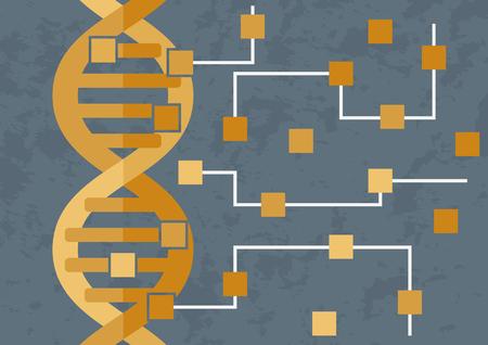 Hacken en decoderen van DNA. DNA transformeert in het circuit van microchips