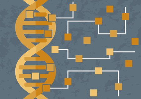 Hacking and decoding DNA. DNA is transforming in the circuit of microchips Illustration