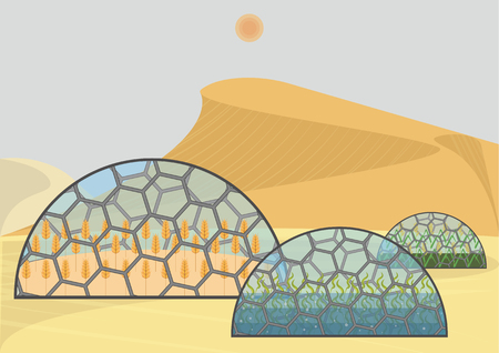 Closed ecological system. Concept of use. Wheat, rice, algae Иллюстрация