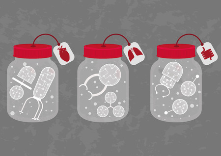 Three medicine bottles with different nanobots. It can be used to ensure that it is transparent. Ilustrace