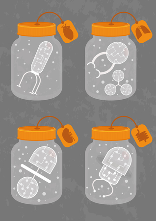 Four medicine bottles with different nanobots. Each nanorobot consists of organic transparent