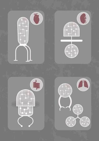 Five different nanobots. Each nanorobot consists of organic transparent Иллюстрация