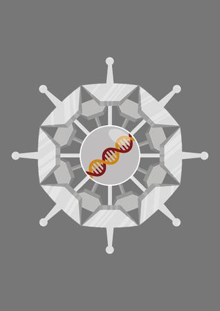 Designing a virus. Vector illustration in minimalist flat style
