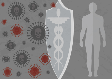 Vaccine protecting an adult. Vaccine protecting our organism from deadly infection. Not attack infection