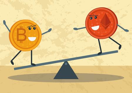Bitcoin vs Etherum: Idee, Unterschiede, Vor- und Nachteile Vektorgrafik