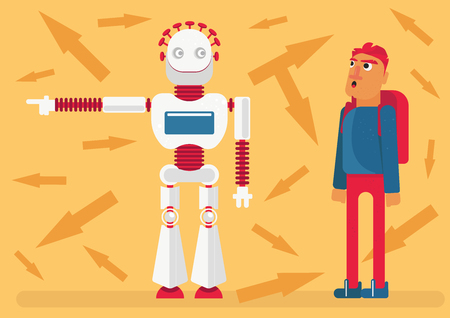 A robot shows a way to a man. Dilemma of Implicit faith to technology