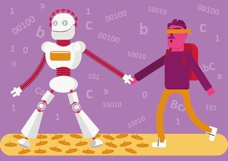 Follow me. Should we always trust neuronet? A robot leads off a man with a bandage on his eyes. He doesn?t follow the bot