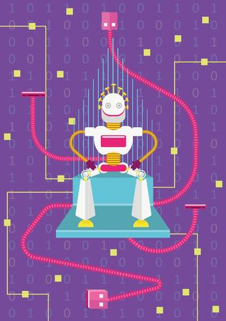 Let's be connected. How artificial intelligence will impact on our life. A robot king is sitting on a throne with usb cables and microchips
