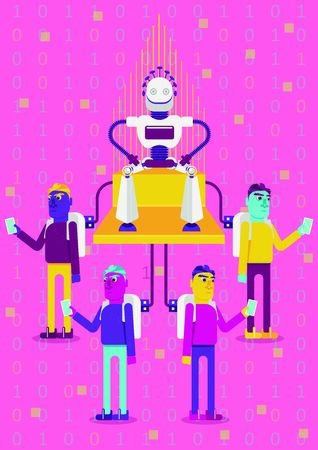 Let's be connected. How artificial intelligence will impact on our life. A robot king is sitting on a throne. Four persons are connected with him with usb cables
