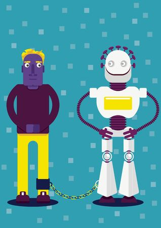 Together forever. A man is strapped by chain with a robot. The presence of apps in our life. Illustration of how day after day, we become more dependent from internet and neural networks