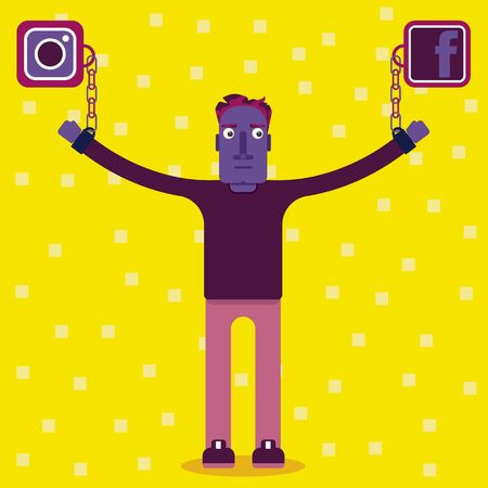 Always connected. How technology is influencing in our life. The problems of internet and how it distract our attention. A man is strapped by chains to the icons of social networks