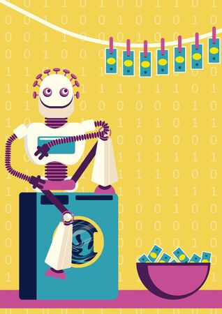 Money-laundering in cyber crime industry. How artificial intelligence will help defrauders. A robot is washing the money and hanging out clean bank notes for drying