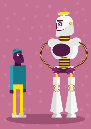 Illustration of how is big the presence of artificial intelligence and neuronal networks in our life and every day it's becoming even bigger. A big robot with a small person