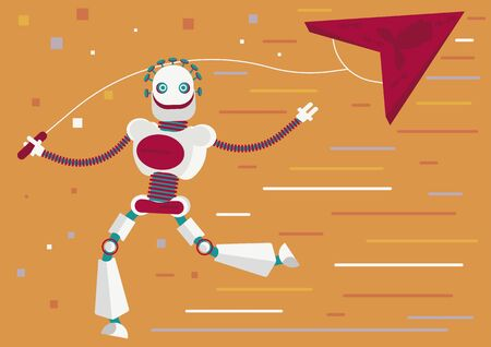 Cyber crime or illustration of how artificial intelligence will help defrauders. A robot is stealing a kite, which represents personal data or passwords to your web accounts or emails