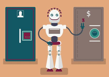 Cyber crime or illustration of how artificial intelligence will help defrauders. A robot has keys from doors, doors are representing different accounts: social media account, bank account, etc