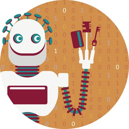 Cyber crime or illustration of how artificial intelligence will help defrauders. A robot has a different keys. He can open every door, every account and manipulate every device