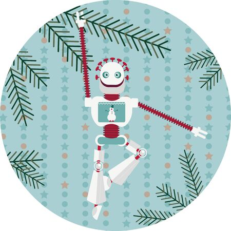 Holiday new years greetings from artificial intelligence. Vector illustration with a robot on blue background. The android is hanging from a christams tree bough Illustration