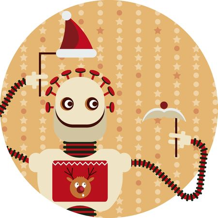 Holiday Christmas greetings from artificial intelligence. Vector illustration with a robot, who is holding Santa's hat and mustache Vectores