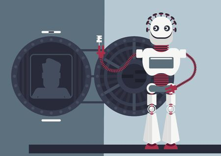 Cyber crime or illustration of how artificial intelligence will help defrauders. A robot opens a strong-box (personal or bank account) and he has a access to all saved information Vectores