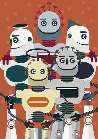 Illustration of how is big the presence of artificial intelligence in our life. A group of five robots is posing like for a movie poster