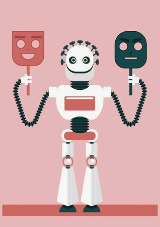 A robot is holding two false face: angry one and smiley one, trying to be someone else. How artificial intelligence could betray us and will help defrauders or cyber criminals