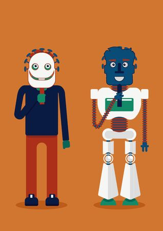 Who is who. A person is holding robot mask and a robot is holding man mask. Whom you will trust more. Illustration of the presence of artificial intelligence in our life and decision making Vectores
