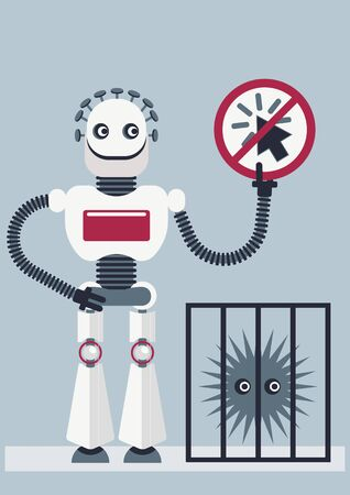 Illustration of how antivirus protect your devices. A robot is holding a plaque