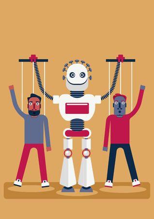 The manipulation. Who is manipulating whom. Illustration of the presence of artificial intelligence in our life. A robot has two puppets, which looks like a human