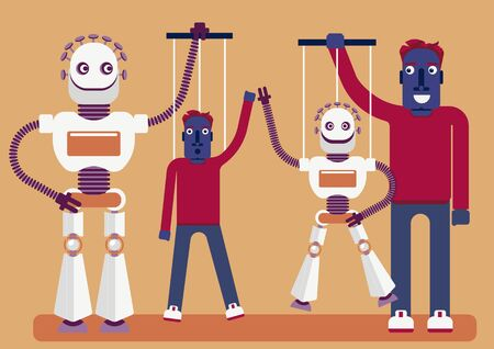 The manipulation. Who is manipulating whom. Illustration of the presence of artificial intelligence in our life. A robot has a puppet of a person and a man has a puppet of the bot Vectores