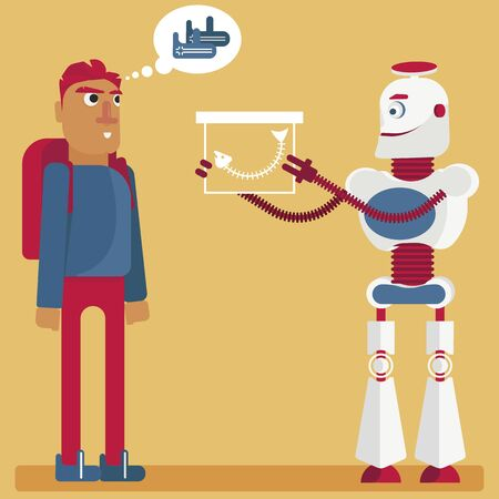 Maybe I'm fooling you. Illustration of the presence of artificial intelligence in our life. A robot gives a present to a person, the person think, that it is his dream, but the android is cheating him Vectores