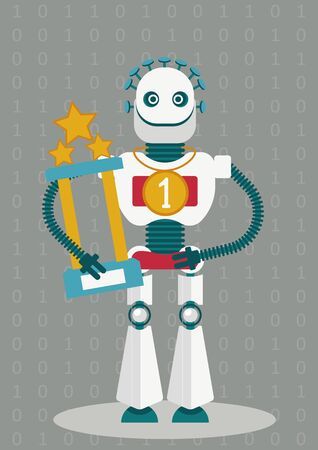I will be a champion. Will be androids better than human. Will the artificial intelligence predominate over human mind. Dilemma of robotics. The robot has a gold medal and a race cup