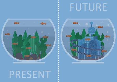 Illustration of sea level rise. There is two aquariums: one is representing present with fish and sea weed and another one representing future with drowned city, lost in algae