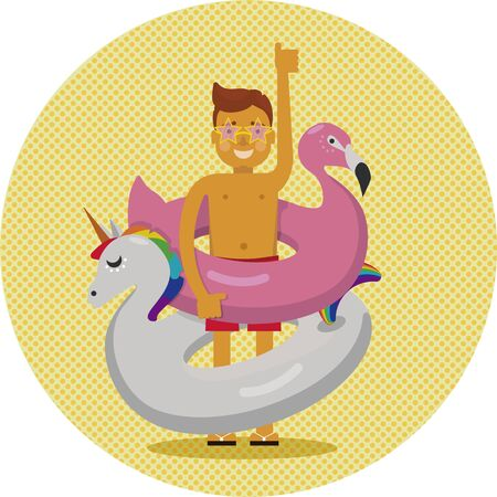 Ready for summer. A man or a boy in star shaped sunglasses and red swimming trunks is holding flamingo's and unicorn's float Vectores