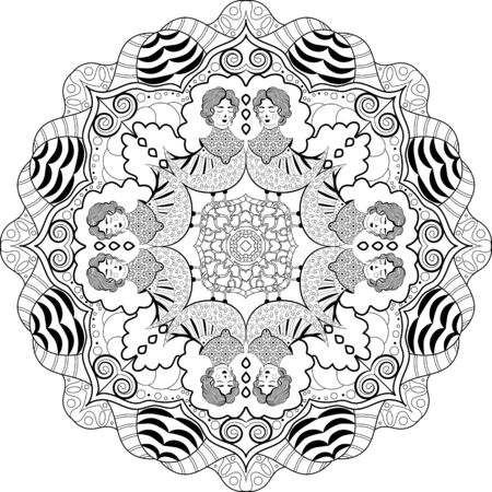 Hand drawn doodle Mandala with half woman half bird creature for coloring book page for adults