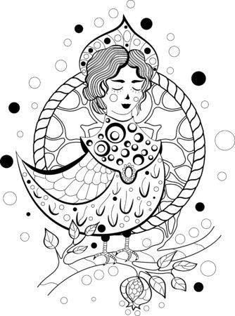 Hand drawn doodle lady bird creature for coloring book page Vectores