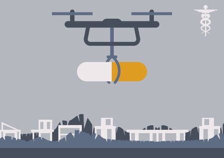 A drone is carrying a pill. The modern delivery and distribution of medicine, the possibility to provide the access to the pharmaceutical products for hard-to-reach areas and population