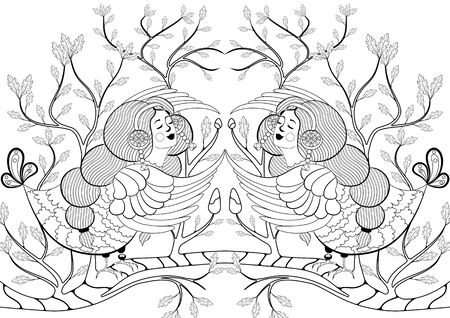 Hand drawn doodle half woman half bird creature with leafs and branches for coloring book page Vectores