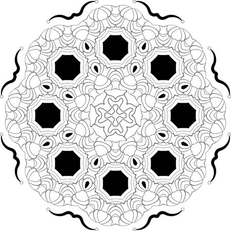 Simple hand drawn doodle Mandala for coloring book page for adults Vectores