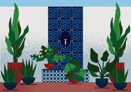 Flat illustration of interior garden in mediterranean style, with white-blue ceramic tiles with geometric ornament on white walls and spring of water, with different plants in the pots