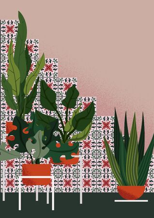 Flat illustration of interior garden in mediterranean style, with colorful ceramic tiles with green-rose art nouveau ornament on pink walls, with different plants in the ornage pots