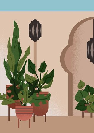 Flat illustration of interior garden in moroccan style, with fake alcove, oriental lanterns and plants in ceramic pots, for ones, who would like to escape to desert fairy-tale