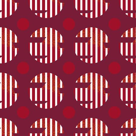 Seamless geometric pattern with red-orange cutted textured circles and white lines on wine red color background inspired by avant-garde art and russian constructivism Vectores