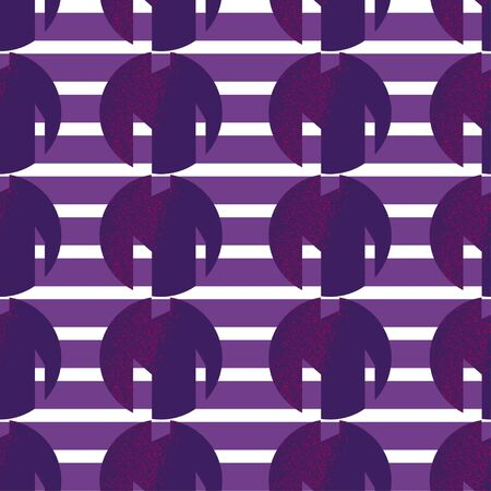 Seamless geometric pattern with purple cutted textured circles and white lines on violet background inspired by avant-garde art and russian constructivism Vectores